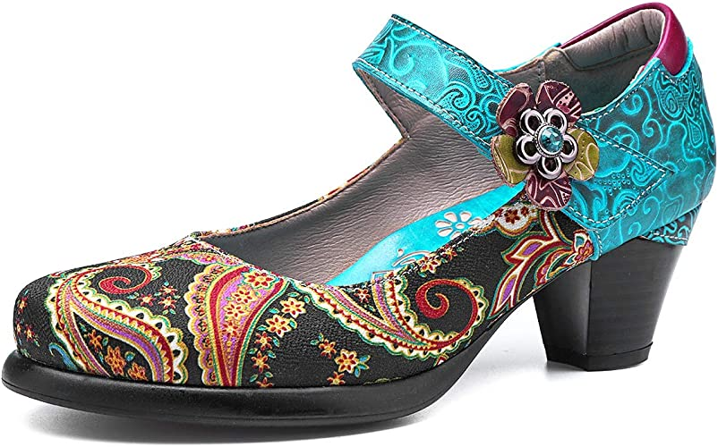 gracosy Damen Pumps, Mary Jane Schuhe Leder Slipper Damen Halbschuhe Party Schuhe Leder Klassische Pumps Vintage Flats Blockabsatz