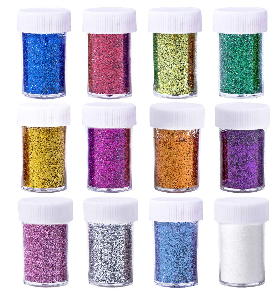 Korlon Glitter Powder Shakers, Extra Fine Glitter Set, Arts and Crafts Supplies Loose Cosmetic Glitter, Great for Slime, Scrapbooking, Face, Body, Nail Arts, Holiday Craft, Assorted Colors, Set of 12 CLN-073-1