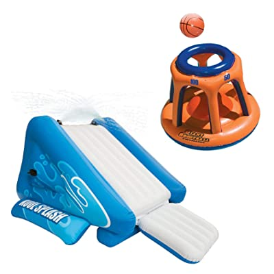 Intex Kool Splash Inflatable Swimming Pool Water Slide & Giant Basketball Hoop : Garden & Outdoor