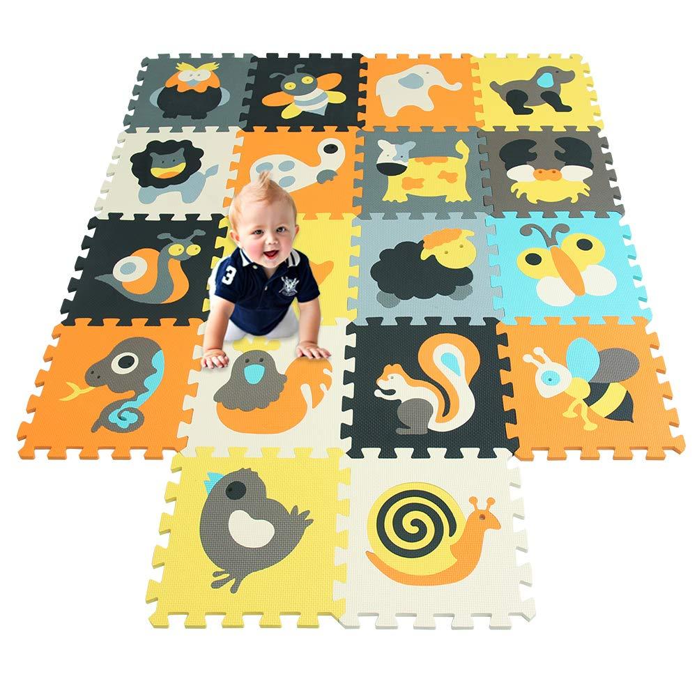 qqpp Tapis de Puzzles – Tapis de Sol Enfant et Bébé en Mousse - 18 Dalles Colorées à Imbriquer 30 x 30 cm - Idéal pour l'Éveil de l'enfant QQCDW101104112G301018 jiasheng