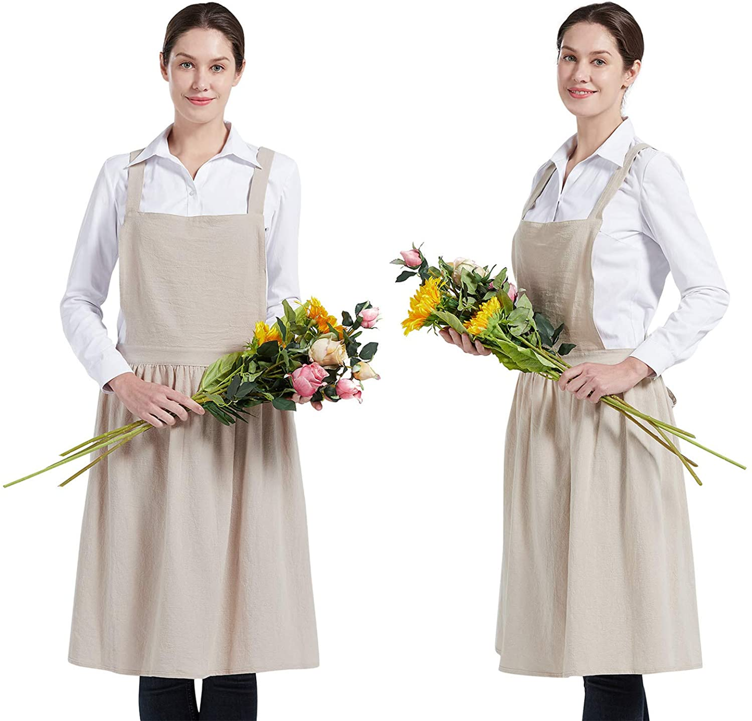 1920s Day Dresses, Tea Dresses, Mature Dresses with Sleeves Nanxson Women Cotton Linen Bib Apron Cross Back Work Apron for CookingBakingCraftingFlower Arrangement CF3046 $17.98 AT vintagedancer.com