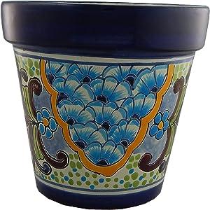 Mexican Talavera Planter Ceramic Flower Pot Folk Art Pottery Garden Handmade #03