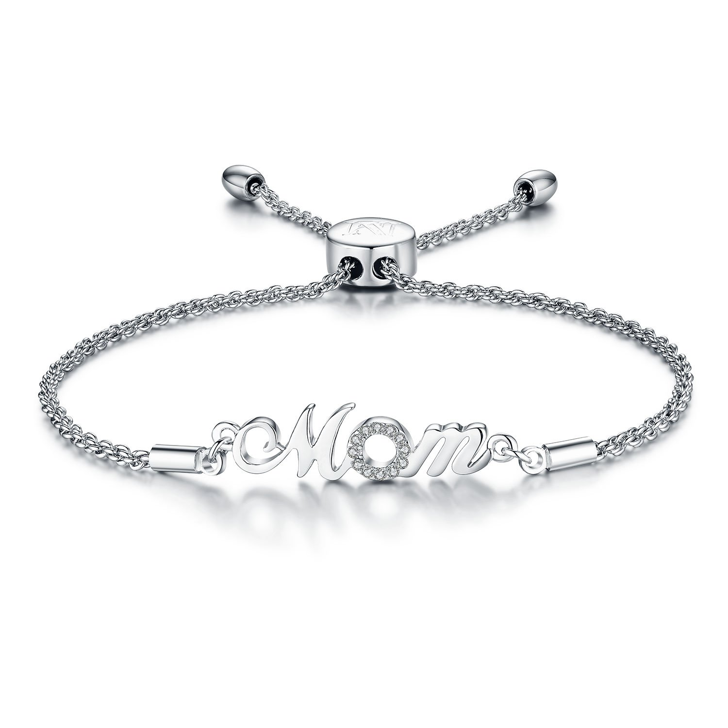 "NINAMAID ""Mom"" Charm Expandable Bolo Bracelet with Cubic Zirconia Adjustable White Gold Plated Copper Jewelry Gift for Mother by NINAMAID (Image #1)"