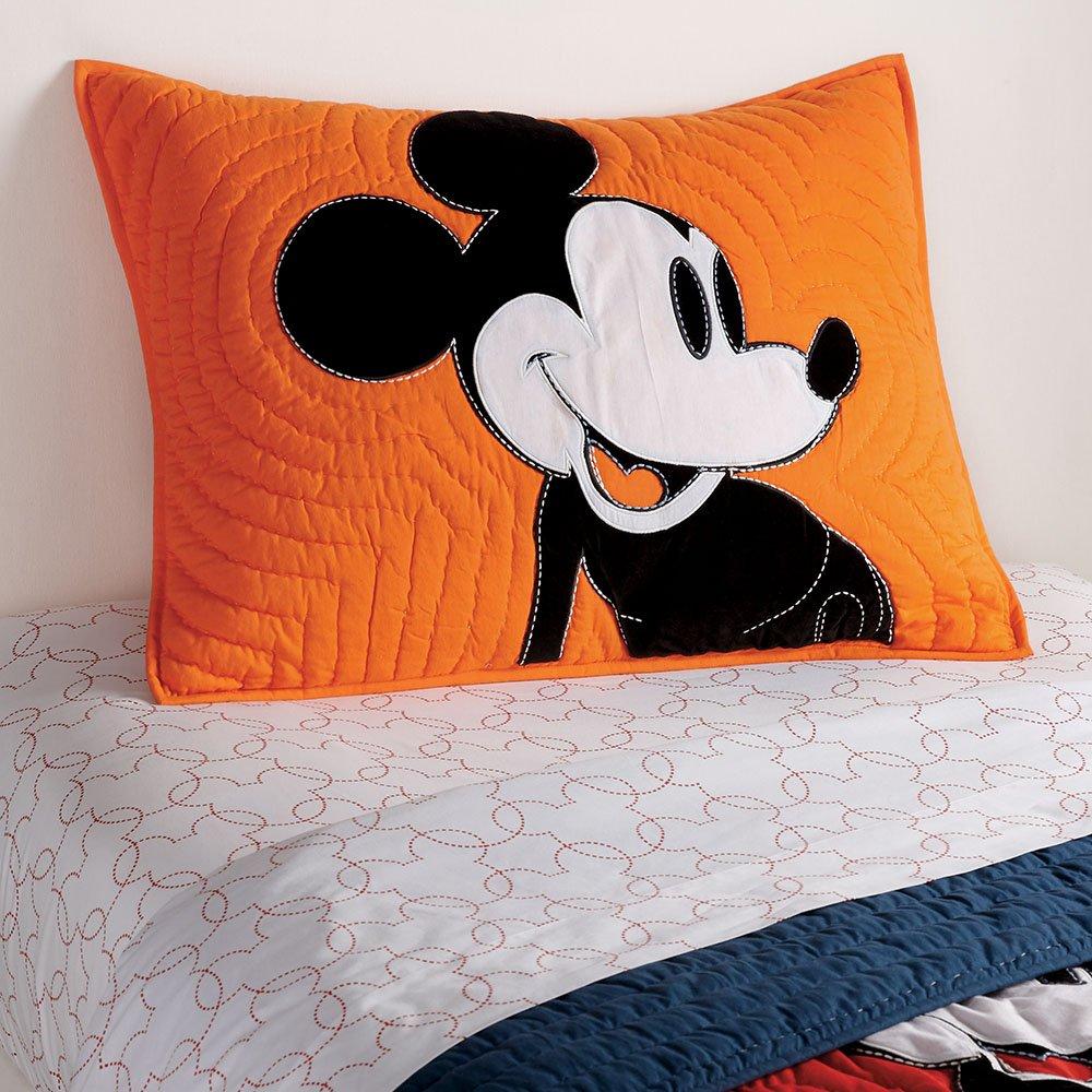 Ethan Allen Disney Color Block Mickey Mouse Sham, Standard, Carrot
