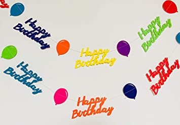 Rainbow Happy Birthday Banner Paper Garland