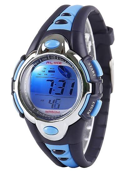 Reloj Digital Deportivo, relojes para niños y niñas resistentes al agua y actividades al aire libre, reloj de pulsera con alarma, color azul