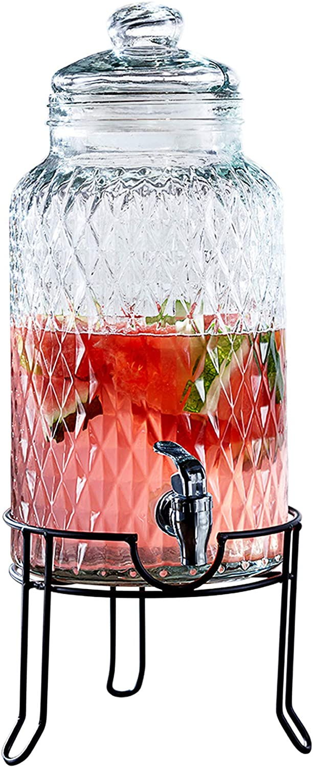 Style Setter 210164-GB Beverage Cold Drink Dispenser w 1.5-Gallon Capacity Glass Jug, Leak-Proof Acrylic Spigot in Gorgeous Gift Box for Parties, 10.25x18.5, Clear