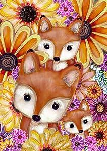 """Toland Home Garden 1112308 Fox Family 12.5 x 18 Inch Decorative, Garden Flag (12.5"""" x 18"""")"""