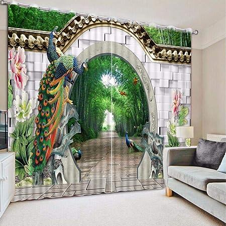 LAIQIAN Cortinas de Pavo Real de Pared de jardín de bambú 3D, Cortinas de Dormitorio, Cortinas Decorativas de Sala de Estar- 88 (w) x 86 (h) Inch: Amazon.es: Hogar