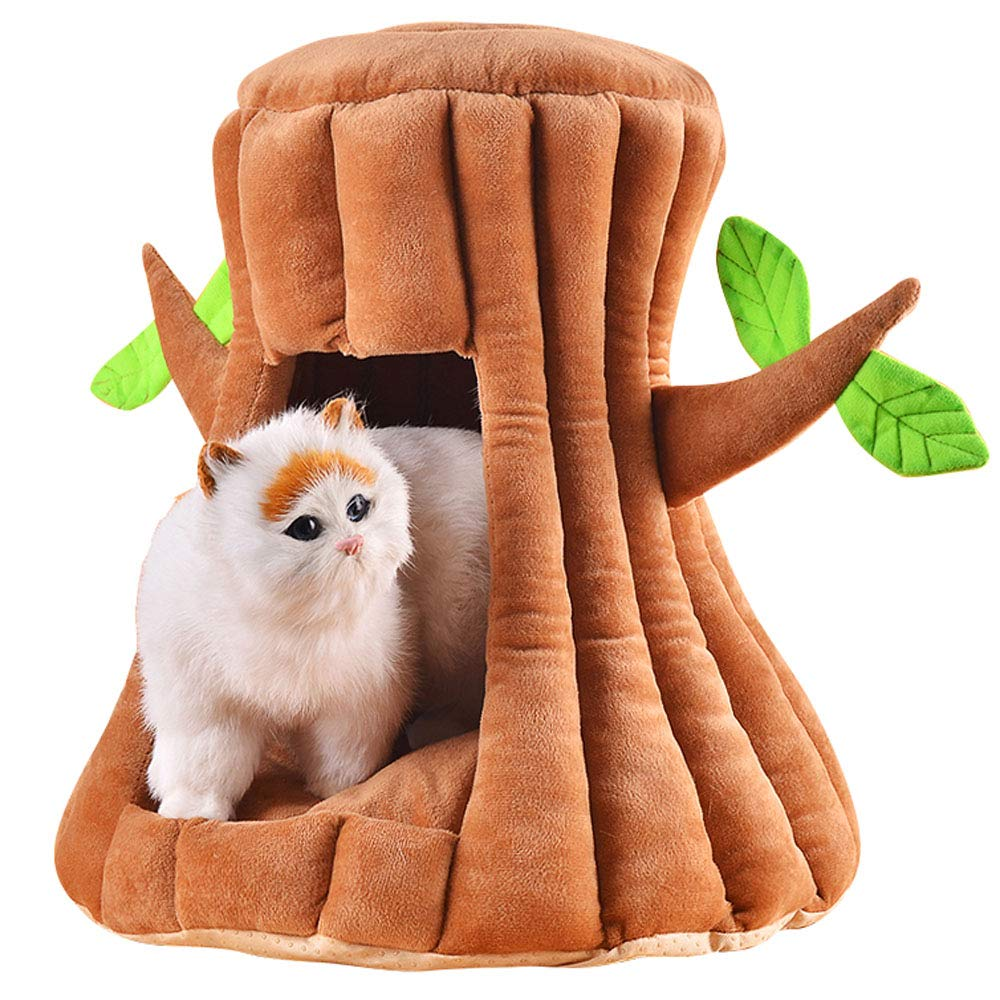 Brown S=4355cm Brown S=4355cm Semi-Enclosed Cat Nest Creative Tree-Shaped Nest Deep Sleep Washable Sleeping Bag Cat House Furniture Tree Cat Hole Soft Non-Slip Windproof Bed,Brown,S=43  55cm