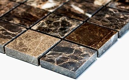 Rete mosaico mosaico piastrelle parete impala marrone lucido marmo