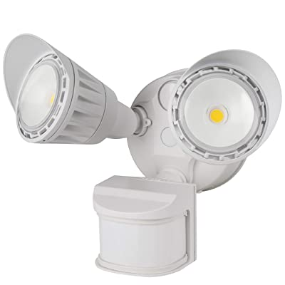 Sunlite 88918-SU LED Dual Head Outdoor Security Light with Motion Sensor and Photocell, White, Warm White, 1800 Lumen: Home Improvement