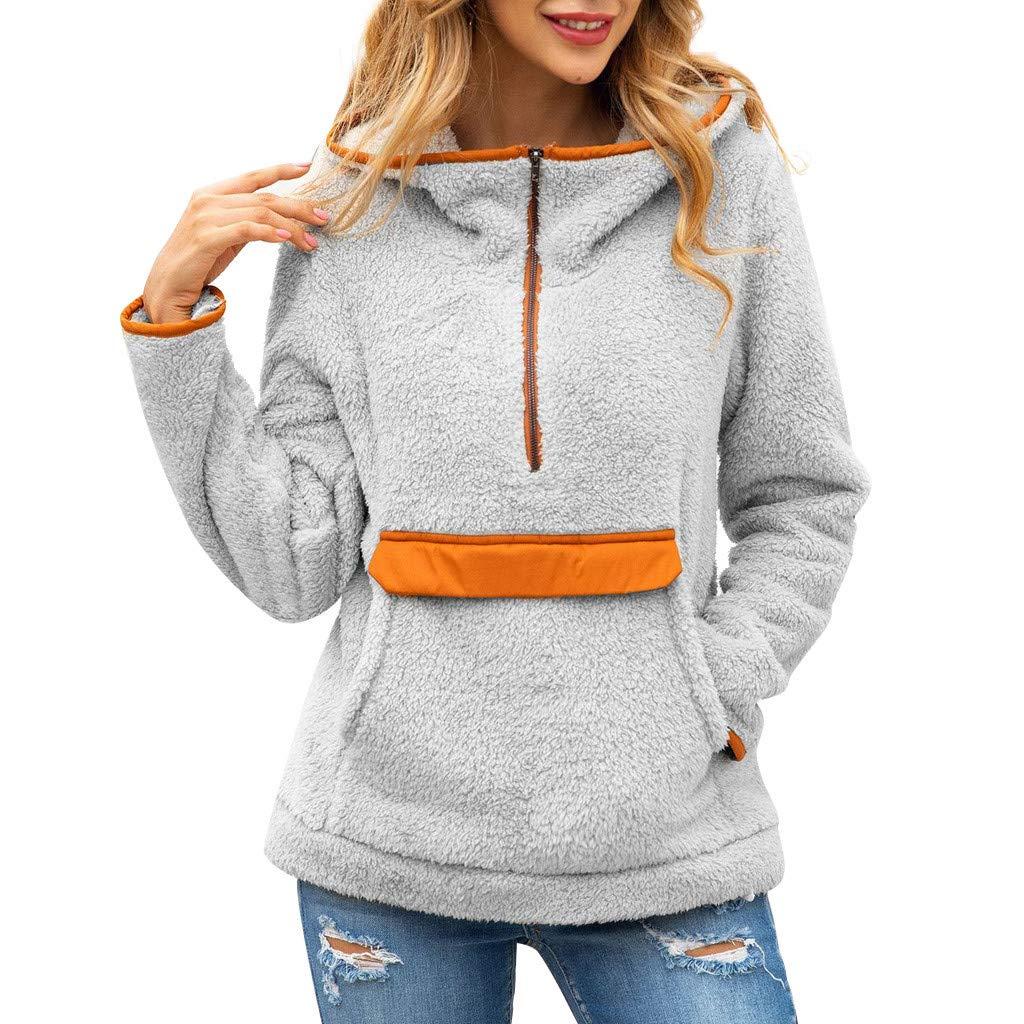 Women Long Sleeve Hoodie 1/4 Zipper Faux Fleece Sweatshirt Fuzzy Pullover Tops with Pockets by HNTDG by HNTDG