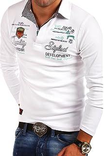 Hommes Uni Polo Shirt Manches Longues avec col Et Broderie de Base TIMO H1852, Couleurs:Rouge, Größe T-Shirt:S