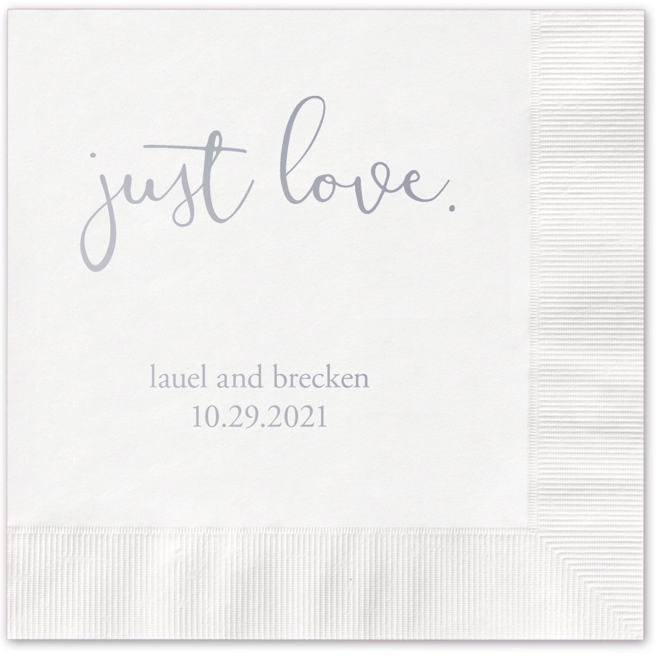 Just Love Personalized Beverage Cocktail Napkins - 100 Custom Printed White Paper Napkins with choice of foil