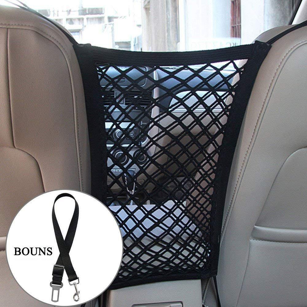 Mini-Van,Pick up Truck 12 x 10 Black Kinxor Universal Car Net Barrier /& Dog Car Seatbelt Car Seat Cargo Net Hook Pouch Holder Stretchable Back Seat Pet Dog Barrier for Sedan,SUV