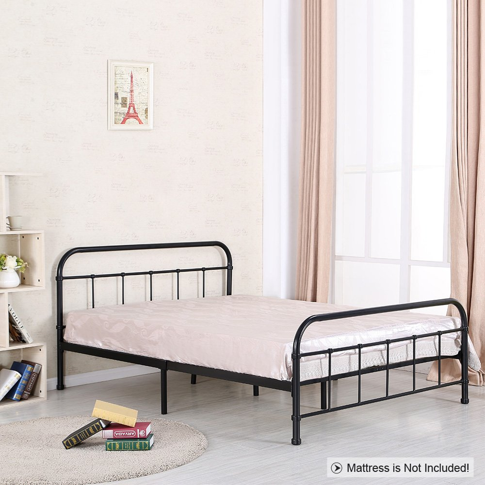 Amazon.de: ikayaa doppelt Metall Plattform Bett Rahmen mit Kopfteil ...