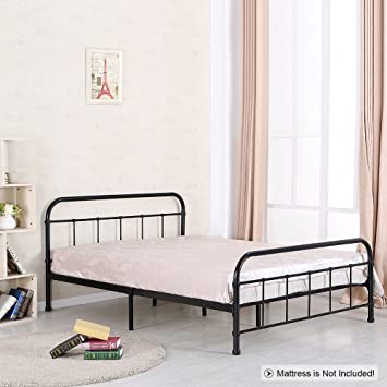 metal platform bed frame headboard bedroom furniture wood slats reclaimed and