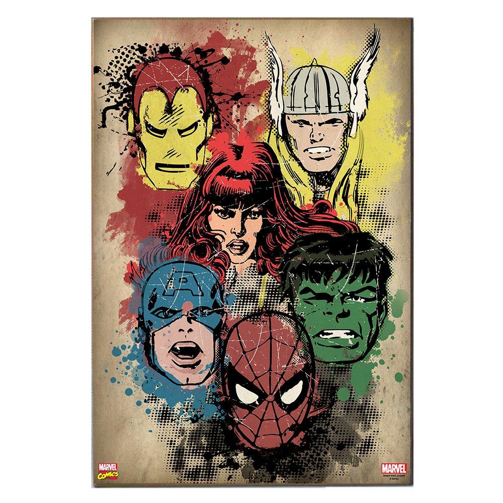 Marvel MC110511 Wood Wall Art Plaque Comics Retro Superhero Heads, 13 x 19 Silver Buffalo