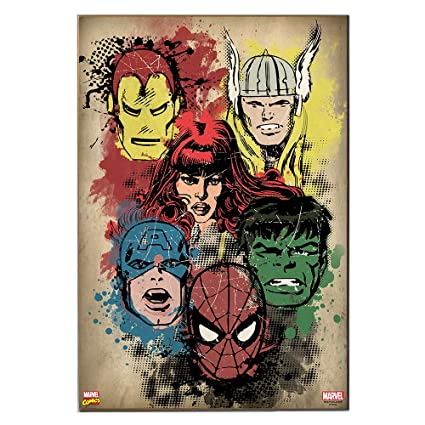 Marvel Mc110511 Wood Wall Art Plaque Comics Retro Superhero Heads