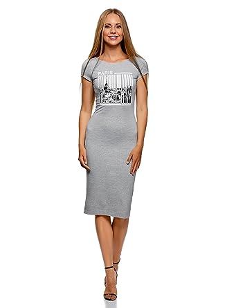 40be439a61f0 oodji Collection Femme Robe Mi-Longue avec Décolleté au Dos  Amazon ...