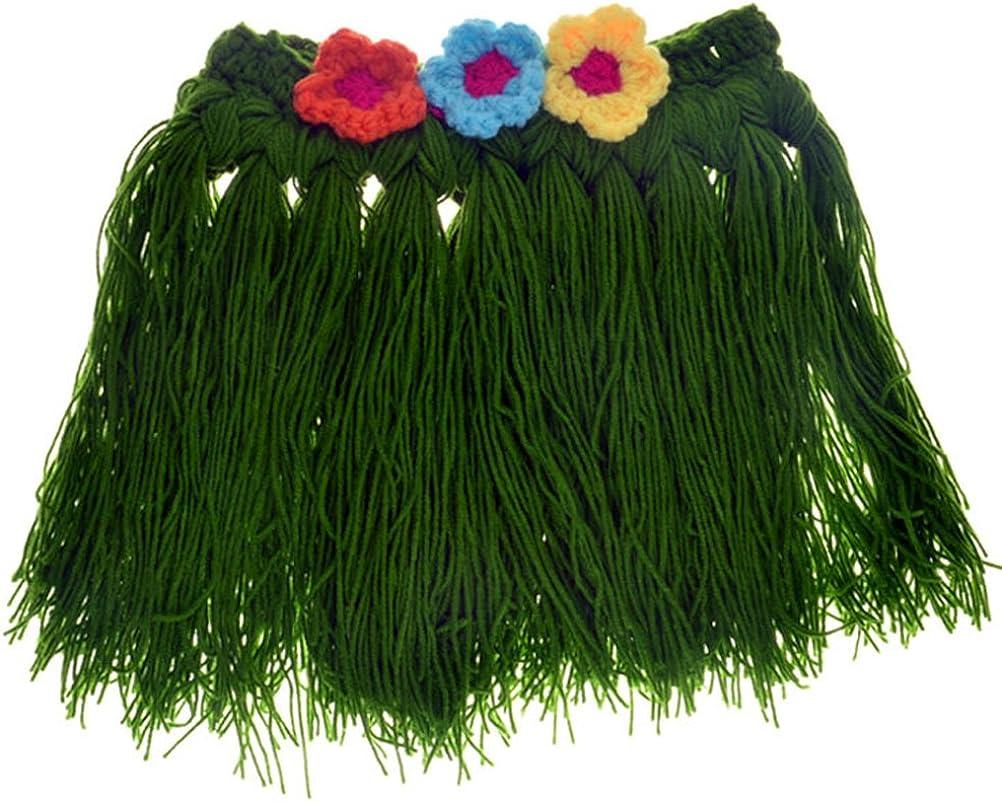 New grass skirt suit Hawaiian hula Newborn Knit Crochet Clothes Photo Prop