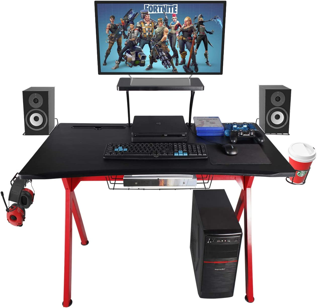 "LAZZO X Type Computer Gaming Desk 41"" Home Game Table Desk with Display Support Plate, Cup Holder and Headphone Hook,Gamer Workstation, Curved Front Desktop,Red & Black Design(41"" Wx23.5 D)"