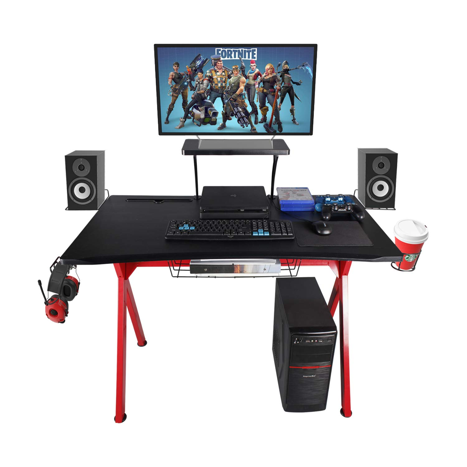 LAZZO Gaming Desk 41 Gaming Table Home Computer Desk with Display Support Plate, Cup Holder and Headphone Hook,Gamer Workstation Game Table, Curved Front Desktop,Red Black Design 41 Wx23.5 D