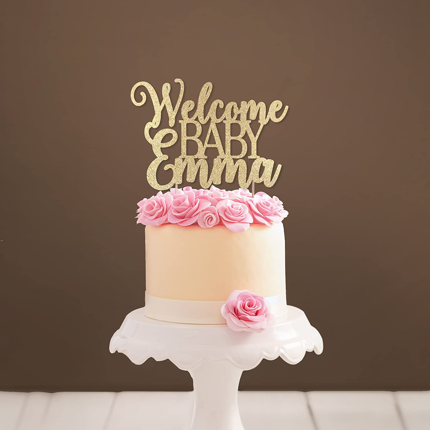 Custom Welcome Baby Cake Topper Glittery Baby Shower Cake Topper Girl Baby Shower Party Decoration Baby Boy Shower Cake Topper