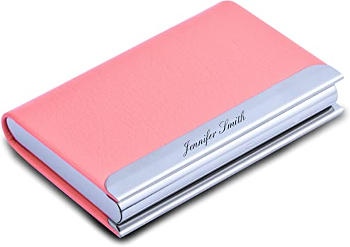 PERSONALIZED PINK LEATHERETTE BUSINESS CARD CREDIT CARD HOLDER ENGRAVED FREE