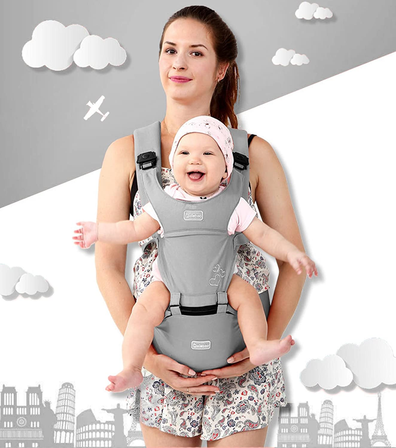360° Ergonomic Baby & Child Carrier Hip Seat All Carry Positions for Infant Toddler and newborn Soft Structured Carrying Sling bag Cotton Carries children from 3 to 36 months (Gray) hongchan