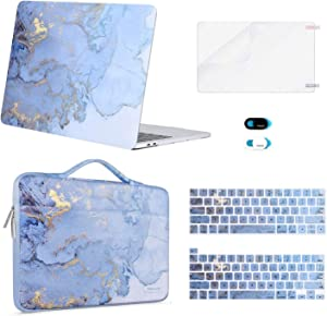 MOSISO Compatible with MacBook Pro 13 inch Case 2016-2020 Release A2289 A2251 A2159 A1989 A1706 A1708, Plastic Watercolor Marble Hard Case&Bag&Keyboard Skin&Webcam Cover&Screen Protector, Blue