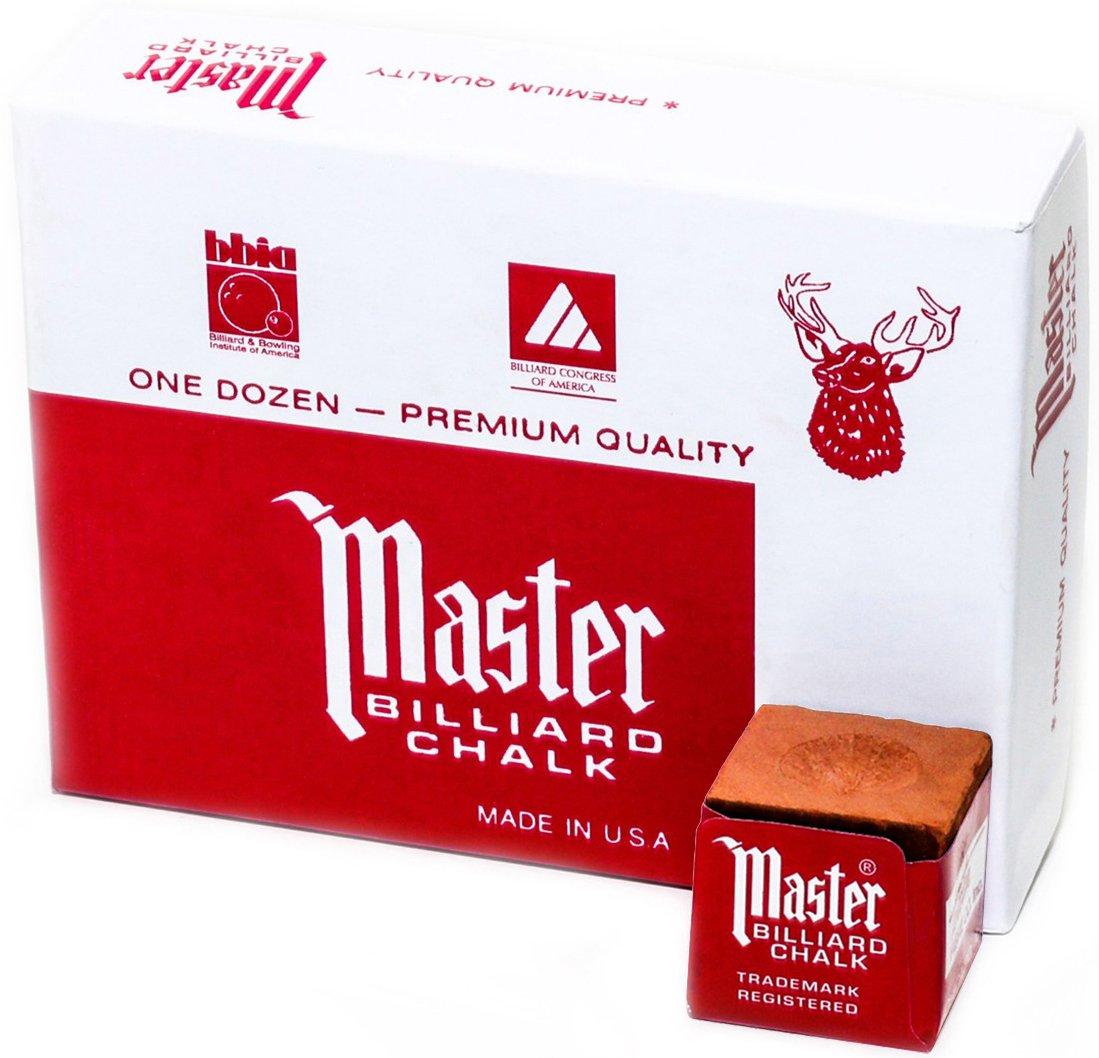Master Billard/Pool Queue Kreide Box, 12Würfel 12Würfel Rust 18-331