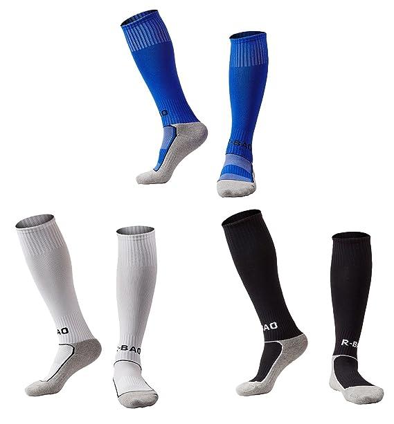 online store ba9d8 287c8 Boys Girls Soccer Socks 3 Pack Youth Teens Knee High Tube Socks Towel  Bottom Pressure Football