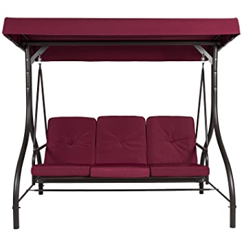 Belleze 3 Seat Patio Swing Bench Converting Bed With Canopy   Burgundy