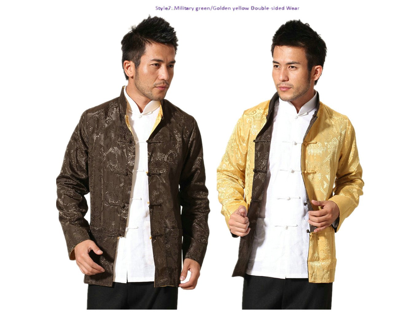 Brocade Silk Tang Suits Double-sided Wear Retro Jackets Coats Business Jackets Full Dress by Double-sided Wear Tang Suit