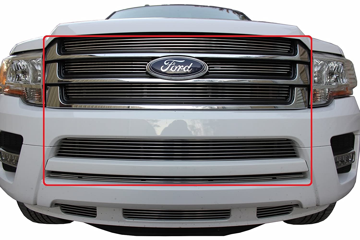 Amazon Com Usa Made Fits   Ford Expedition Pc Chrome Polished Insert Billet Grille Combo Kit Automotive