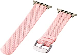 Clockwork Synergy - 2 Piece Perlon Braided Nylon Bands for Apple Watch (38mm Pink)