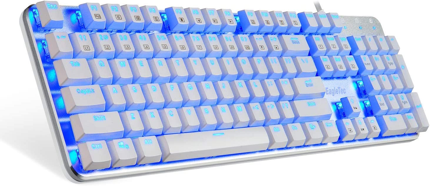 EagleTec KG051-BR Blue LED Backlit Mechanical Gaming Keyboard Low Profile Mechanical Gamers Keyboard 104 Key Mechanical Computer USB Gaming Keyboard for PC Quiet Cherry Brown Switches (White Version)