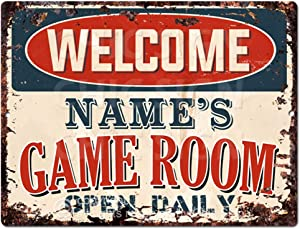 "Welcome Name's Game Room Open Daily Custom Personalized Tin Chic Sign Rustic Vintage Style Retro Kitchen Bar Pub Coffee Shop Decor 9""x 12"" Metal Plate Sign Home Store Man cave Decor Gift Ideas"