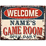 Welcome Name's Game Room Open Daily Custom Personalized Tin Chic Sign Rustic Vintage Style Retro Kitchen Bar Pub Coffee…
