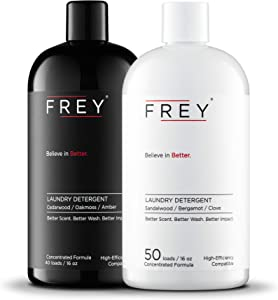 FREY Concentrated Natural Laundry Detergent - 50 Concentrated Loads of Long Lasting High Efficiency Liquid Laundry Detergent - Eco Friendly Blend of Great Smelling Biodegradable Natural Ingredients