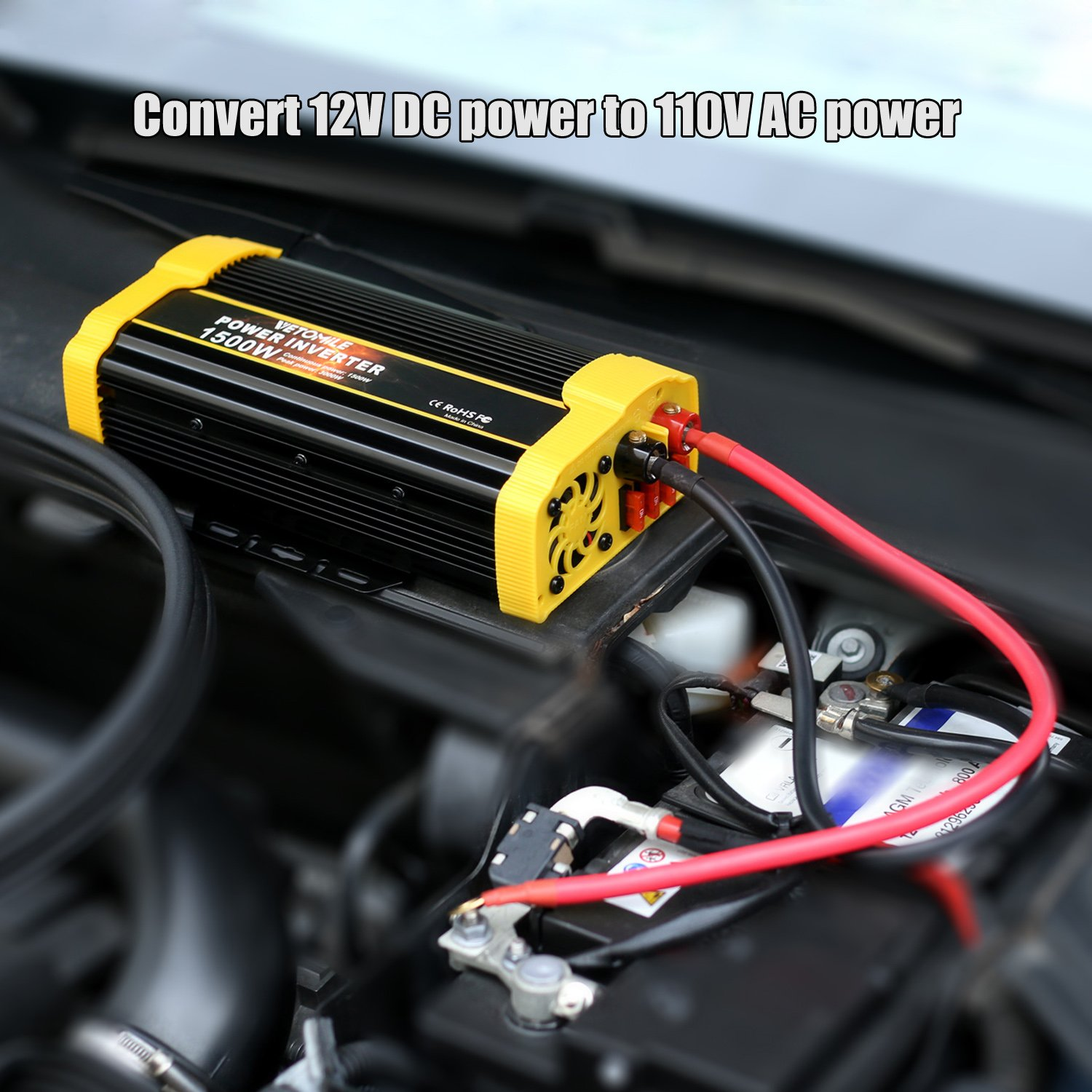 Vetomile 1500w Power Inverter Dc 12v To Ac 110v Car Wiring Diagram In Addition Rv Electrical With 21a Dual Usb Adapter Automotive