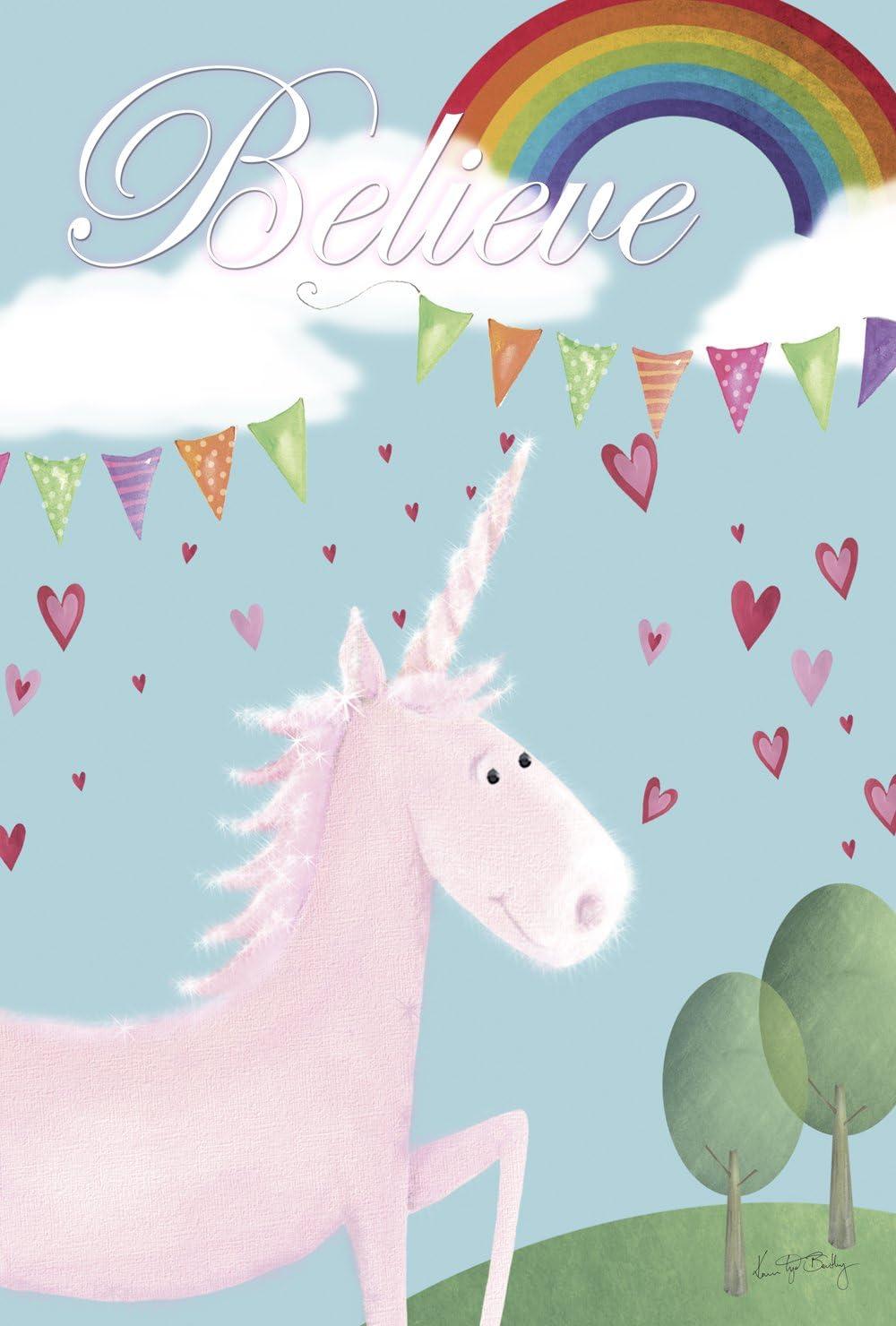 Toland Home Garden Believe In Unicorns 12.5. x 18 Inch Decorative Cute Mythical Rainbow Heart Unicorn Garden Flag