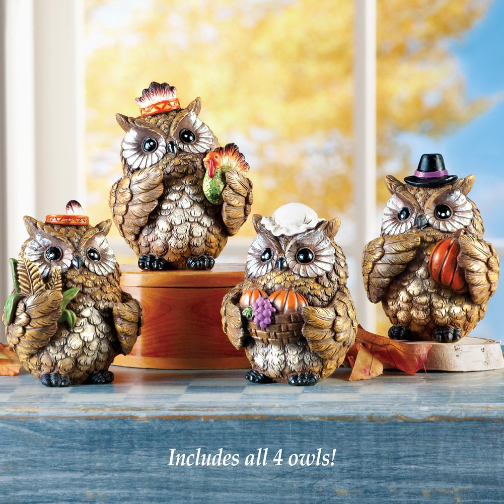 Collections Etc Decorative Harvest Owls Tabletop Sitters Set of 4 Home Decor for Thanksgiving and Fall Season Winston Brands