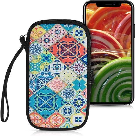 H/ülle mit Reinigungsfunktion fitBAG Jive Blau Handytasche Tasche aus Textil-Stoff mit Microfaserinnenfutter f/ür Google Pixel 2 XL Made in Germany