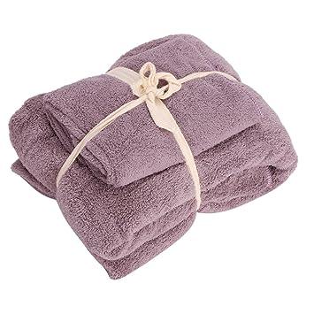 Juego de toallas de baño de forro polar de coral de gran tamaño, suave, fuerte absorción ...