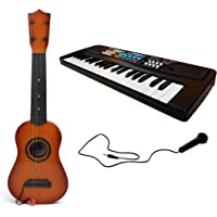 CrazyBuy 37 Key Piano Keyboard with Mic & 4-Strings Classical Musical Guitar with Adjustable Tuning Knobs (Combo Pack)