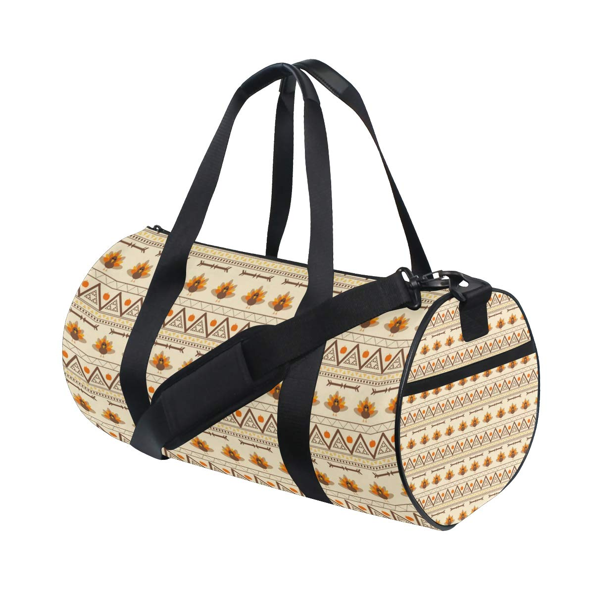 Sports Gym Duffel Barrel Bag Aztec Turkey Gobble Thanksgiving Travel Luggage Handbag for Men Women