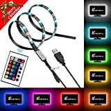 Vansky Bias Backlight Strip for HDTV USB LED Multi Color RGB Lights Neon Accent Lighting Kit for Flat Screen TV LCD, Desktop PC (16 Multi Colors Reduce eye fatigue and increase image clarity)
